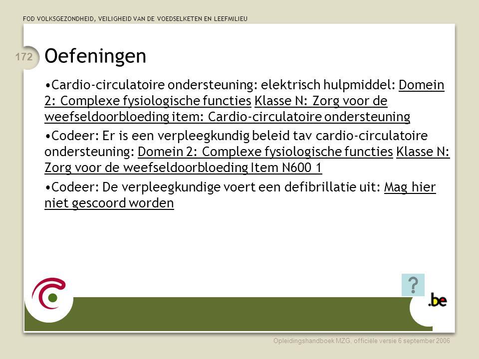 FOD VOLKSGEZONDHEID, VEILIGHEID VAN DE VOEDSELKETEN EN LEEFMILIEU Opleidingshandboek MZG, officiële versie 6 september 2006 172 Oefeningen •Cardio-circulatoire ondersteuning: elektrisch hulpmiddel: Domein 2: Complexe fysiologische functies Klasse N: Zorg voor de weefseldoorbloeding item: Cardio-circulatoire ondersteuning •Codeer: Er is een verpleegkundig beleid tav cardio-circulatoire ondersteuning: Domein 2: Complexe fysiologische functies Klasse N: Zorg voor de weefseldoorbloeding Item N600 1 •Codeer: De verpleegkundige voert een defibrillatie uit: Mag hier niet gescoord worden