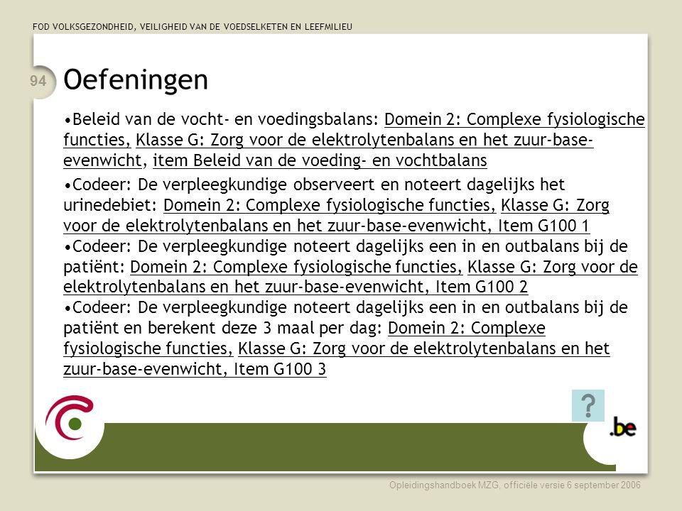 FOD VOLKSGEZONDHEID, VEILIGHEID VAN DE VOEDSELKETEN EN LEEFMILIEU Opleidingshandboek MZG, officiële versie 6 september 2006 94 Oefeningen •Beleid van