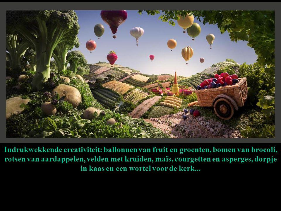Indrukwekkende creativiteit: ballonnen van fruit en groenten, bomen van brocoli, rotsen van aardappelen, velden met kruiden, maïs, courgetten en asperges, dorpje in kaas en een wortel voor de kerk...