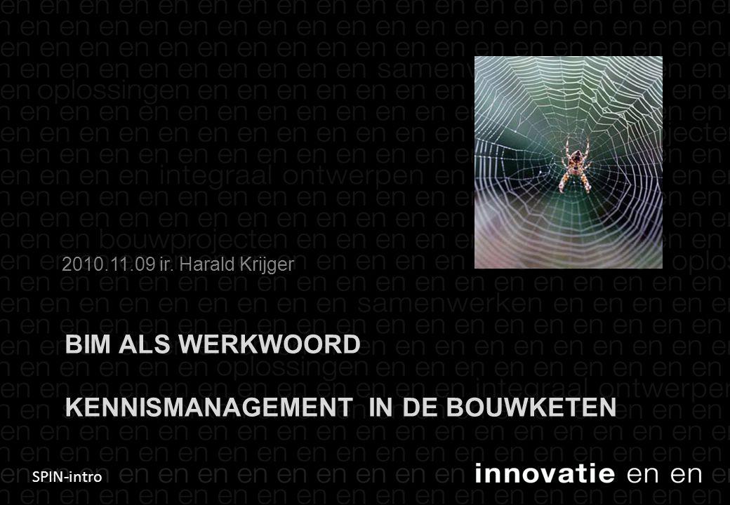 SPIN-intro BIM ALS WERKWOORD KENNISMANAGEMENT IN DE BOUWKETEN 2010.11.09 ir. Harald Krijger