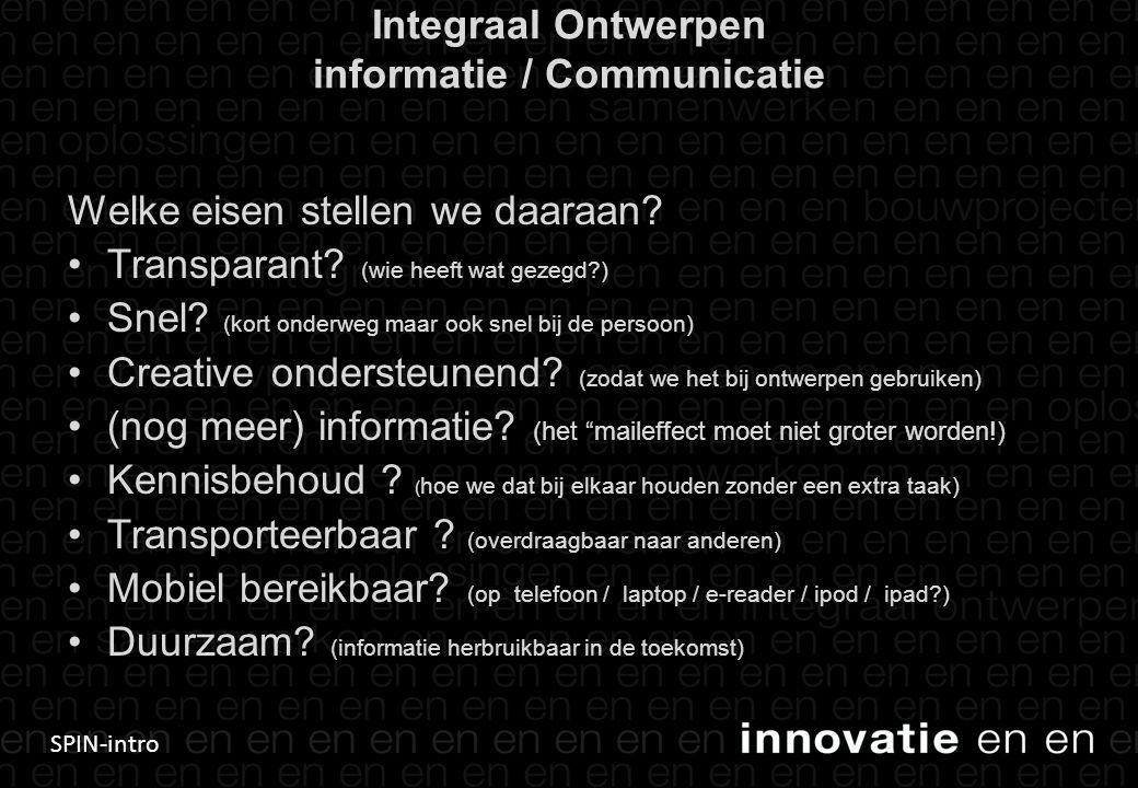 SPIN-intro Integraal Ontwerpen informatie / Communicatie Welke eisen stellen we daaraan? •Transparant? (wie heeft wat gezegd?) •Snel? (kort onderweg m