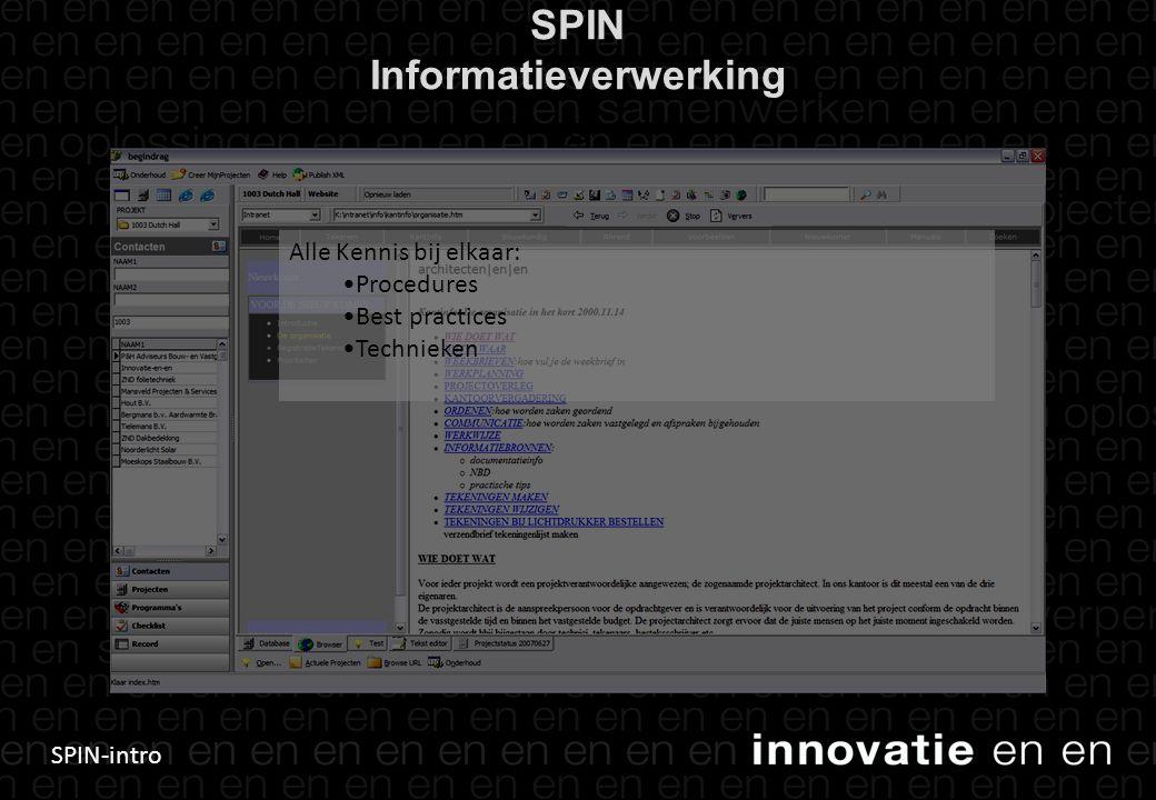 SPIN-intro SPIN Informatieverwerking 26 Alle Kennis bij elkaar: •Procedures •Best practices •Technieken