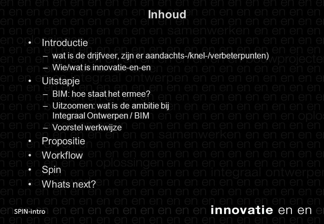 SPIN-intro Inhoud • Introductie –wat is de drijfveer, zijn er aandachts-/knel-/verbeterpunten) –Wie/wat is innovatie-en-en • Uitstapje –BIM: hoe staat