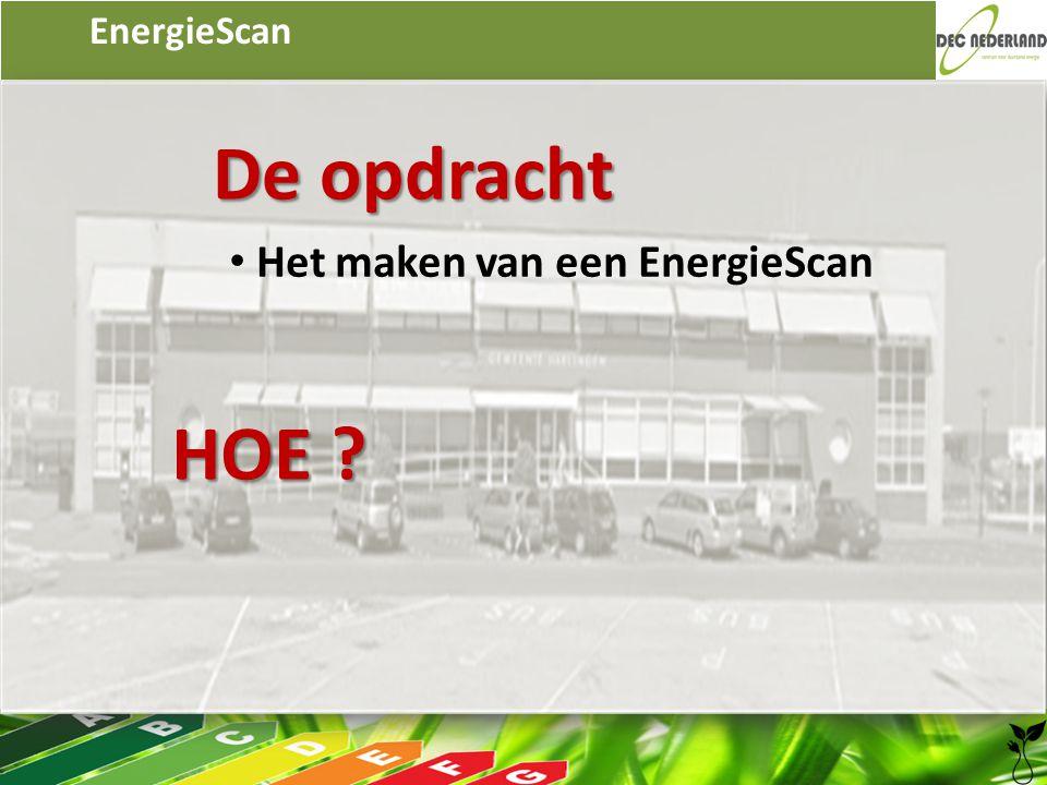 EnergieScan De opdracht • Het maken van een EnergieScan HOE ?