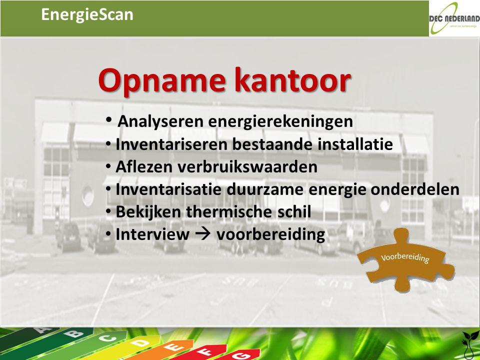 EnergieScan Opname kantoor • Analyseren energierekeningen • Inventariseren bestaande installatie • Aflezen verbruikswaarden • Inventarisatie duurzame