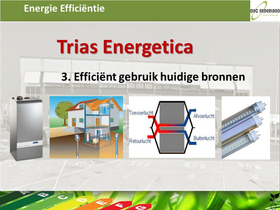 Energie Efficiëntie Trias Energetica 3. Efficiënt gebruik huidige bronnen