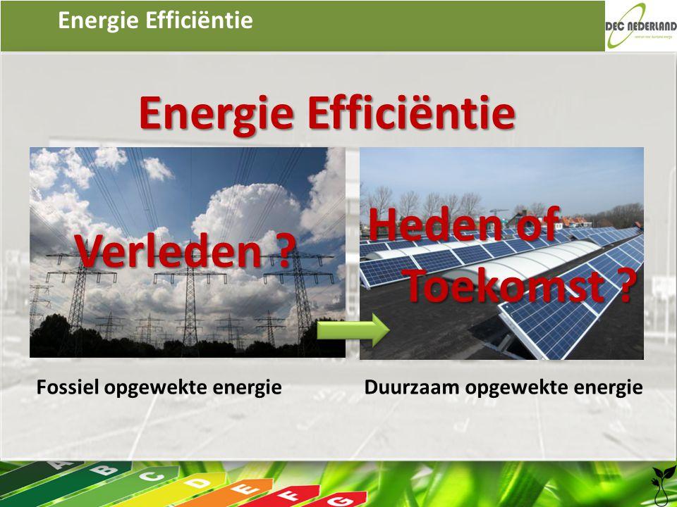 Energie Efficiëntie Fossiel opgewekte energie Duurzaam opgewekte energie Verleden ? Heden of Toekomst ?