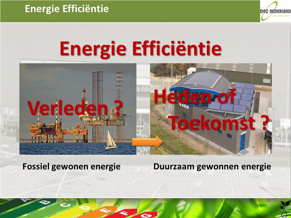 Energie Efficiëntie Fossiel gewonen energie Duurzaam gewonnen energie Verleden ? Heden of Toekomst ?