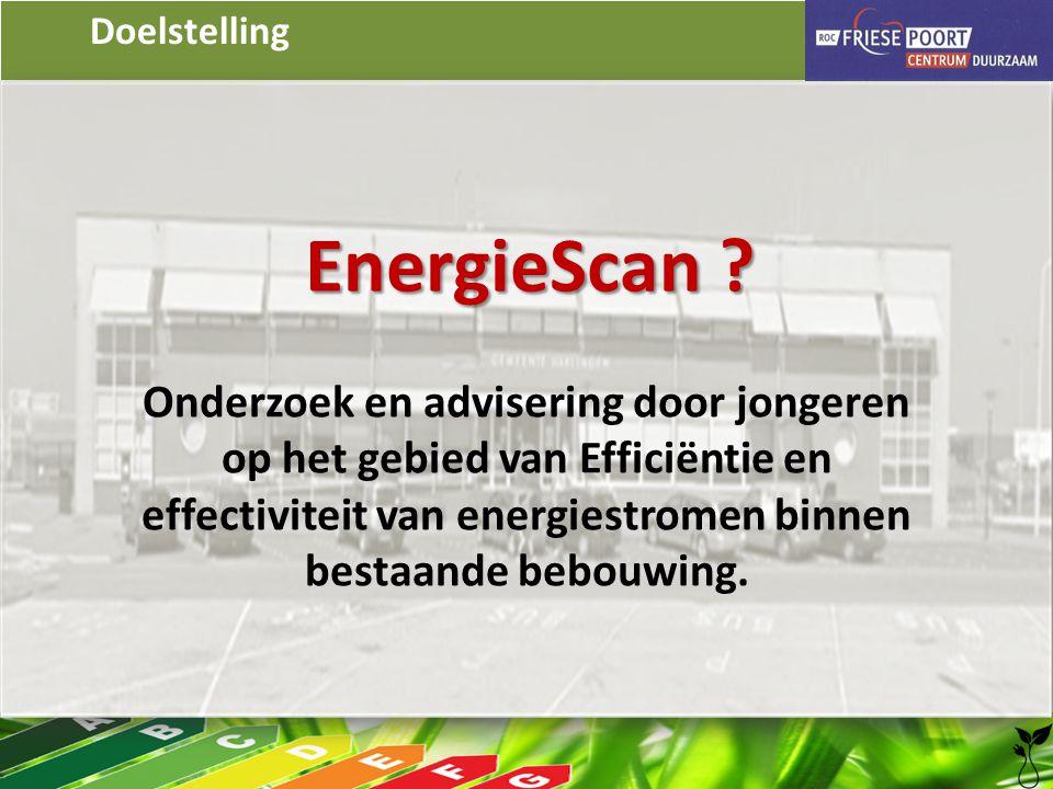 Doelstelling EnergieScan ? Onderzoek en advisering door jongeren op het gebied van Efficiëntie en effectiviteit van energiestromen binnen bestaande be