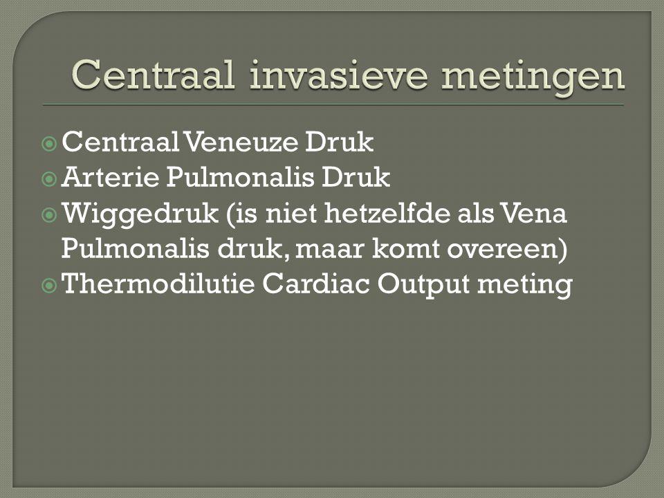  Centraal Veneuze Druk  Arterie Pulmonalis Druk  Wiggedruk (is niet hetzelfde als Vena Pulmonalis druk, maar komt overeen)  Thermodilutie Cardiac