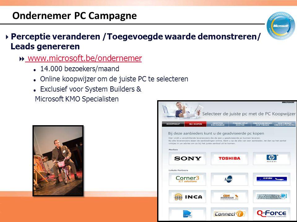 Ondernemer PC Campagne 20  Perceptie veranderen /Toegevoegde waarde demonstreren/ Leads genereren  www.microsoft.be/ondernemer www.microsoft.be/ondernemer  14.000 bezoekers/maand  Online koopwijzer om de juiste PC te selecteren  Exclusief voor System Builders & Microsoft KMO Specialisten