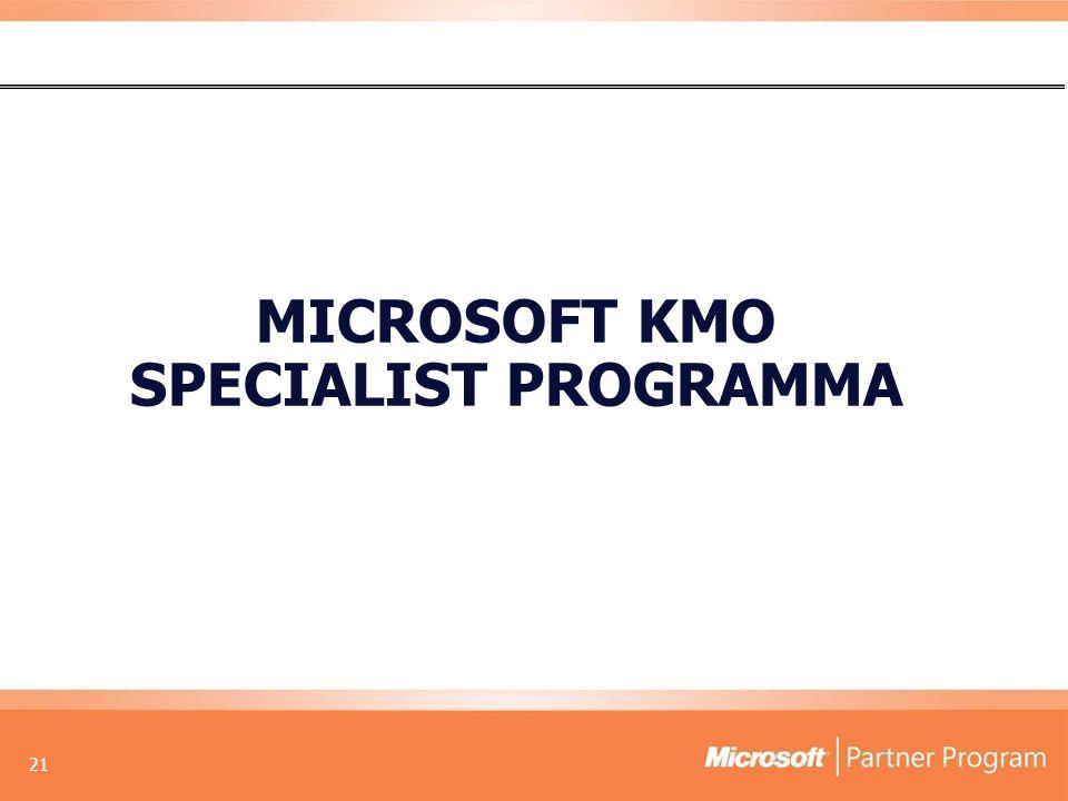 21 MICROSOFT KMO SPECIALIST PROGRAMMA