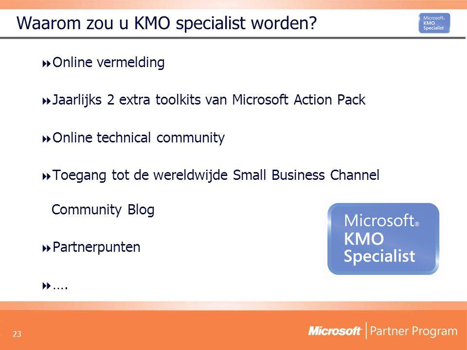 23 Waarom zou u KMO specialist worden.