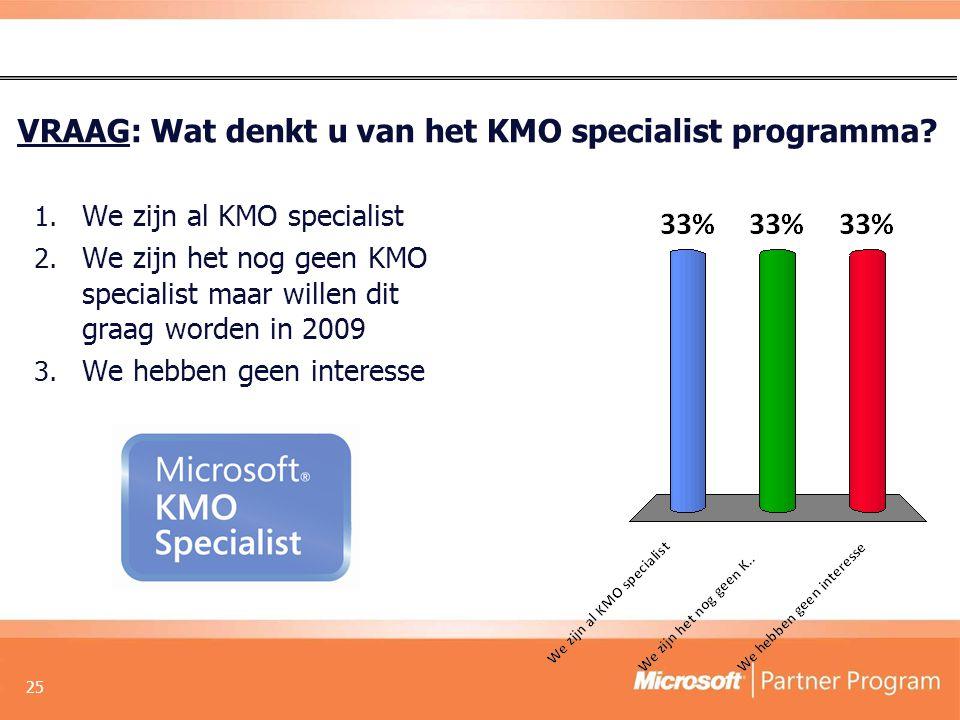 VRAAG: Wat denkt u van het KMO specialist programma.
