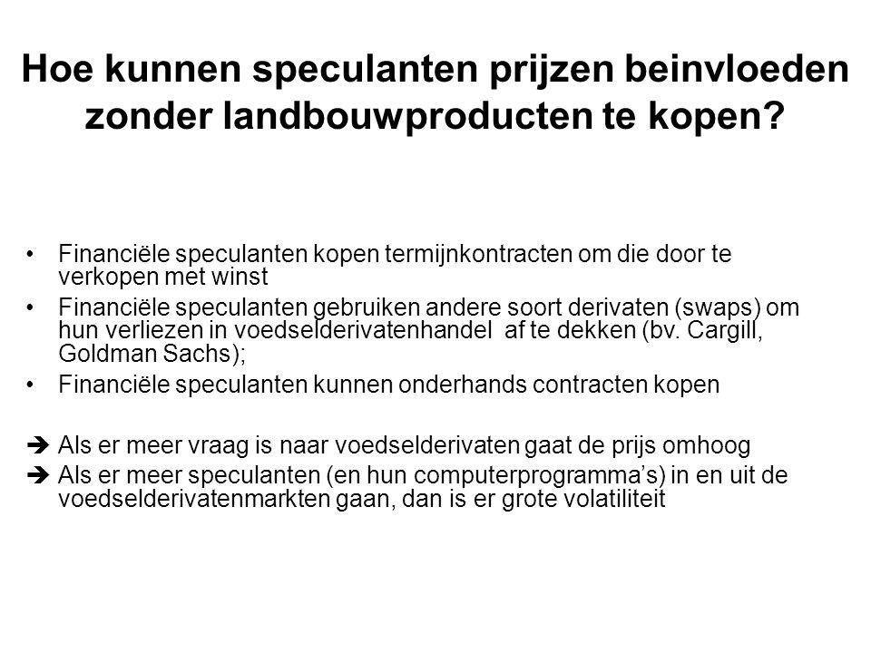 Hoe kunnen speculanten prijzen beinvloeden zonder landbouwproducten te kopen.