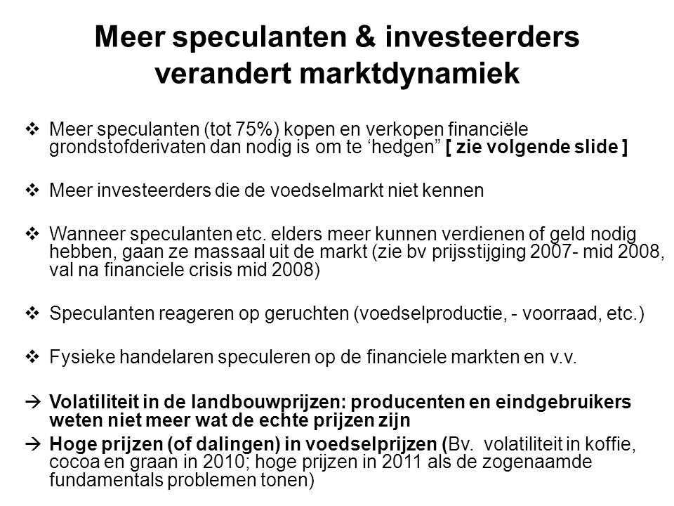 Meer speculanten & investeerders verandert marktdynamiek  Meer speculanten (tot 75%) kopen en verkopen financiële grondstofderivaten dan nodig is om te 'hedgen [ zie volgende slide ]  Meer investeerders die de voedselmarkt niet kennen  Wanneer speculanten etc.