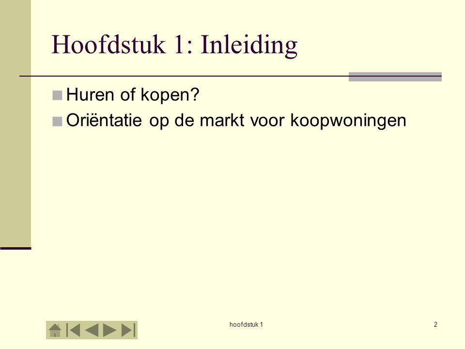 hoofdstuk 12 Hoofdstuk 1: Inleiding     Huren of kopen? Oriëntatie op de markt voor koopwoningen