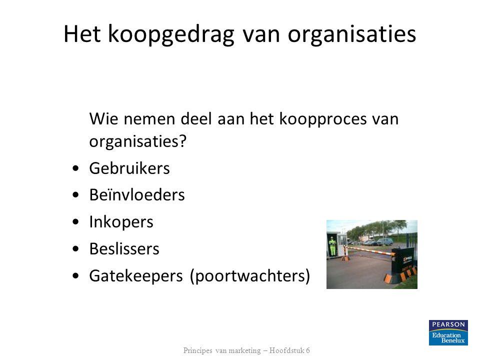 Het koopgedrag van organisaties Wie nemen deel aan het koopproces van organisaties? •Gebruikers •Beïnvloeders •Inkopers •Beslissers •Gatekeepers (poor