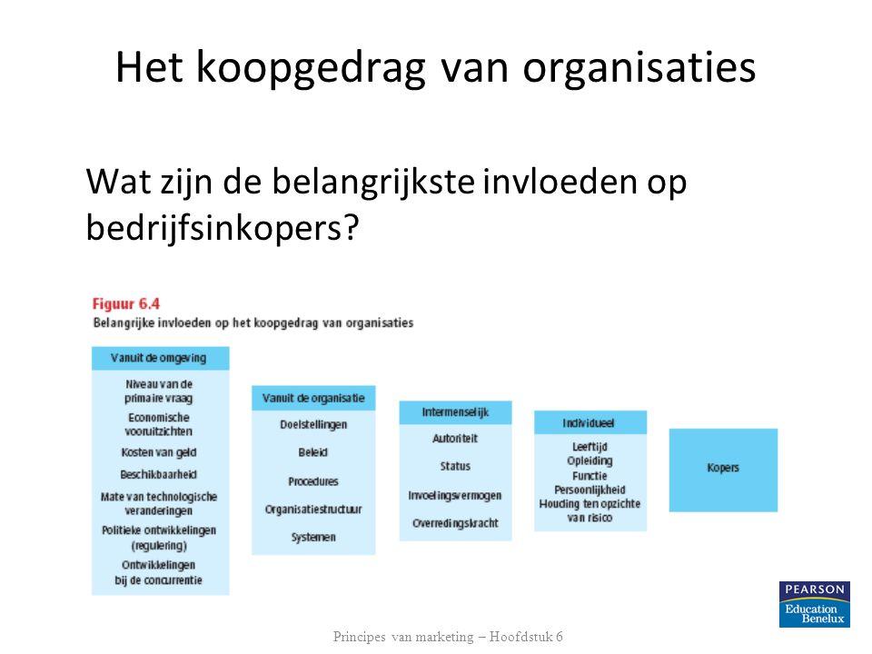 Het koopgedrag van organisaties Wat zijn de belangrijkste invloeden op bedrijfsinkopers? Principes van marketing – Hoofdstuk 6