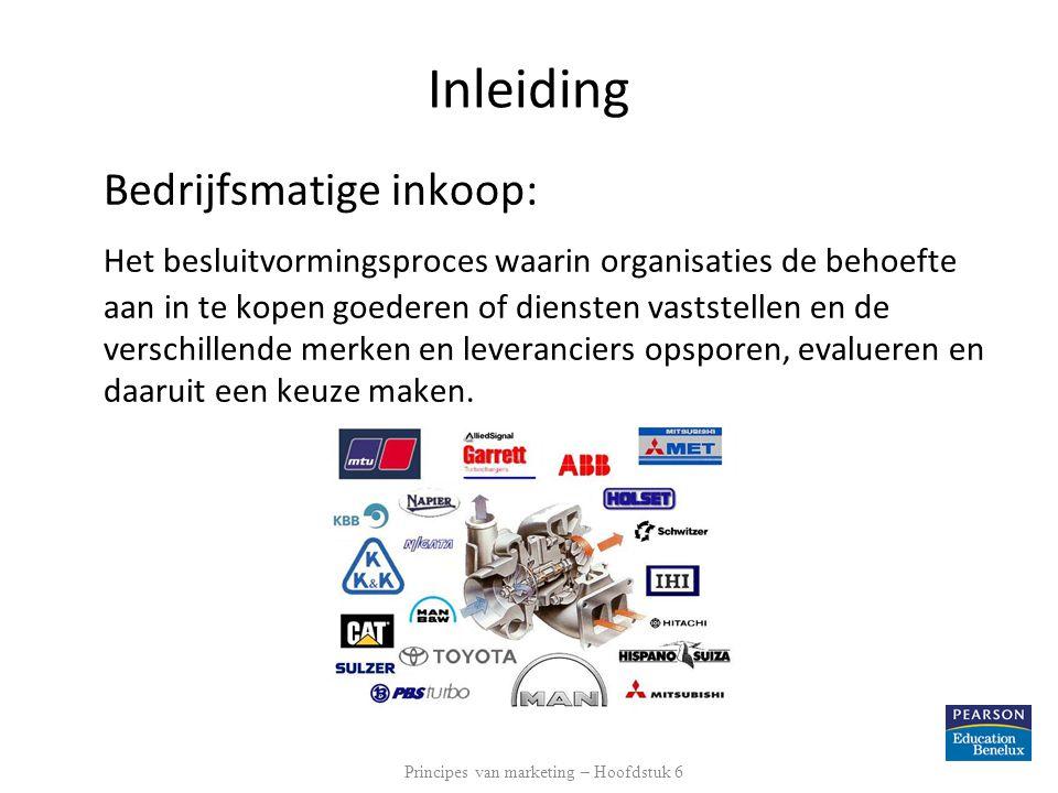 Inleiding Bedrijfsmatige inkoop: Het besluitvormingsproces waarin organisaties de behoefte aan in te kopen goederen of diensten vaststellen en de vers