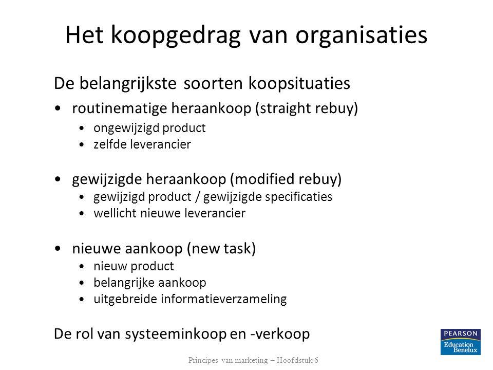 Het koopgedrag van organisaties De belangrijkste soorten koopsituaties •routinematige heraankoop (straight rebuy) •ongewijzigd product •zelfde leveran