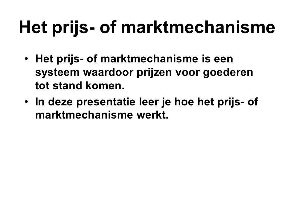 •Het prijs- of marktmechanisme is een systeem waardoor prijzen voor goederen tot stand komen. •In deze presentatie leer je hoe het prijs- of marktmech