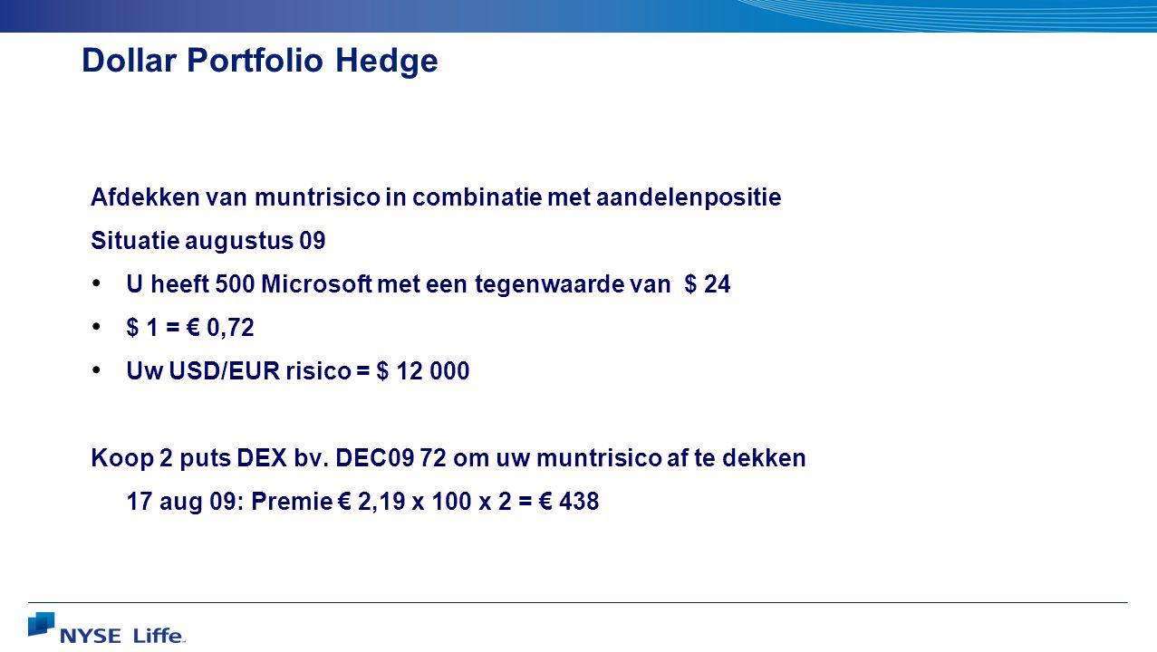 Dollar Portfolio Hedge Afdekken van muntrisico in combinatie met aandelenpositie Situatie augustus 09 • U heeft 500 Microsoft met een tegenwaarde van $ 24 • $ 1 = € 0,72 • Uw USD/EUR risico = $ 12 000 Koop 2 puts DEX bv.