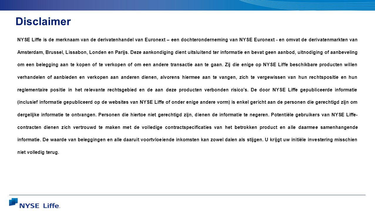 Disclaimer NYSE Liffe is de merknaam van de derivatenhandel van Euronext – een dochteronderneming van NYSE Euronext - en omvat de derivatenmarkten van Amsterdam, Brussel, Lissabon, Londen en Parijs.