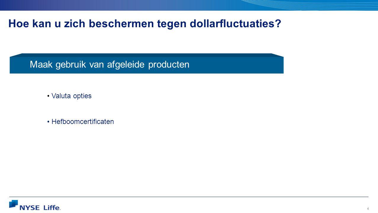 4 Hoe kan u zich beschermen tegen dollarfluctuaties? Maak gebruik van afgeleide producten • Valuta opties • Hefboomcertificaten