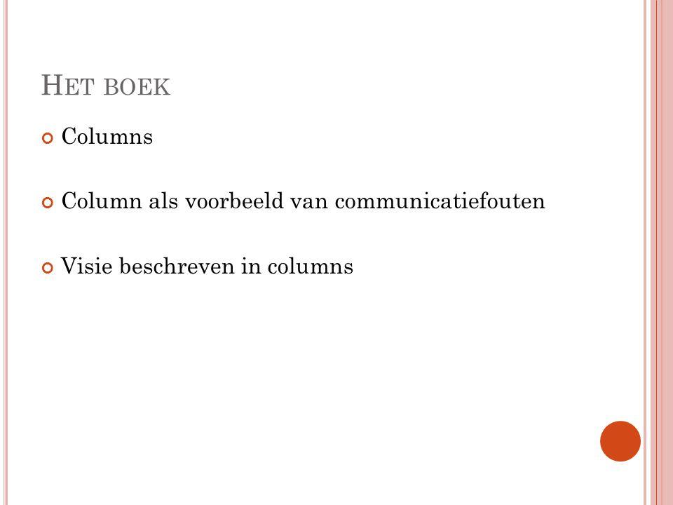 H ET BOEK Columns Column als voorbeeld van communicatiefouten Visie beschreven in columns