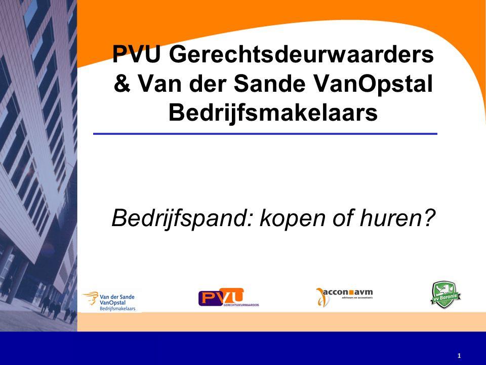 1 PVU Gerechtsdeurwaarders & Van der Sande VanOpstal Bedrijfsmakelaars Bedrijfspand: kopen of huren?