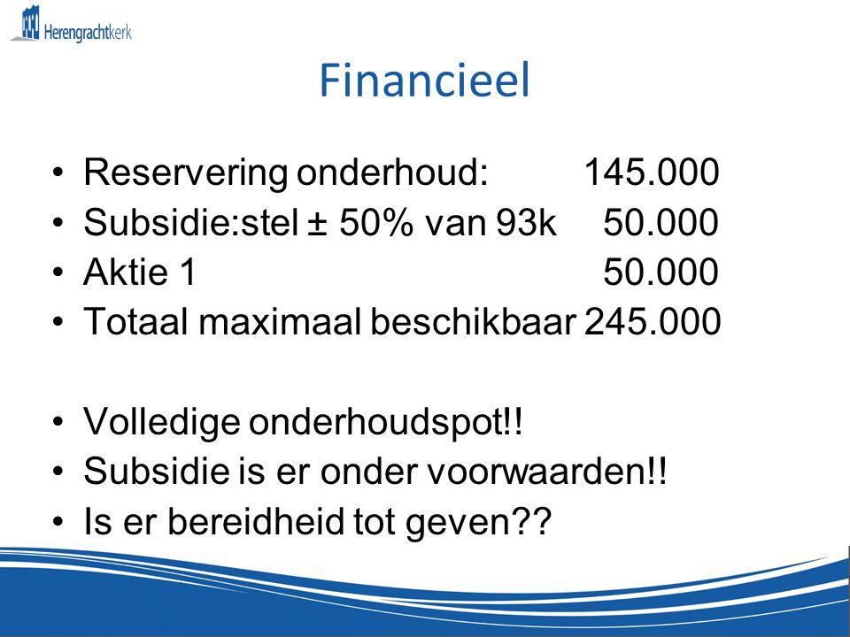 Financieel •Reservering onderhoud: 145.000 •Subsidie:stel ± 50% van 93k 50.000 •Aktie 1 50.000 •Totaal maximaal beschikbaar 245.000 •Volledige onderhoudspot!.