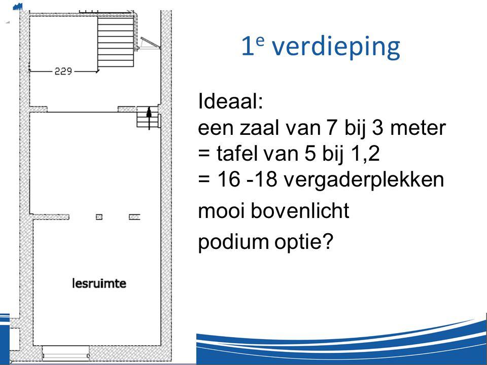 1 e verdieping •Ideaal: een zaal van 7 bij 3 meter = tafel van 5 bij 1,2 = 16 -18 vergaderplekken •mooi bovenlicht •podium optie?