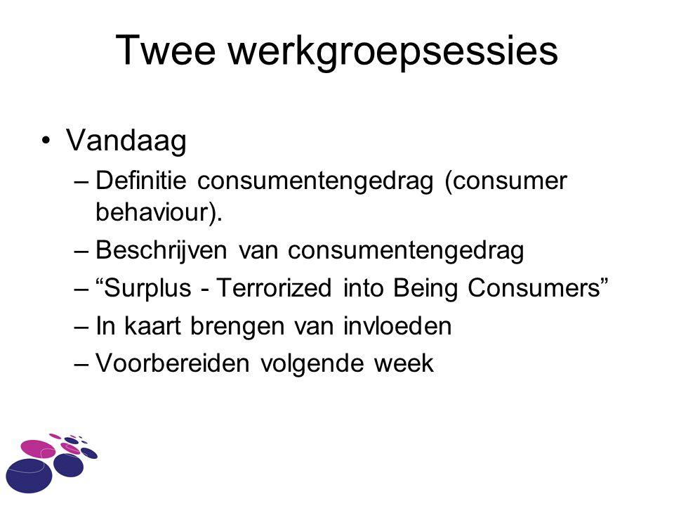 Twee werkgroepsessies •Vandaag –Definitie consumentengedrag (consumer behaviour).