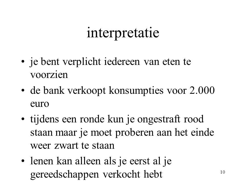 10 interpretatie •je bent verplicht iedereen van eten te voorzien •de bank verkoopt konsumpties voor 2.000 euro •tijdens een ronde kun je ongestraft rood staan maar je moet proberen aan het einde weer zwart te staan •lenen kan alleen als je eerst al je gereedschappen verkocht hebt