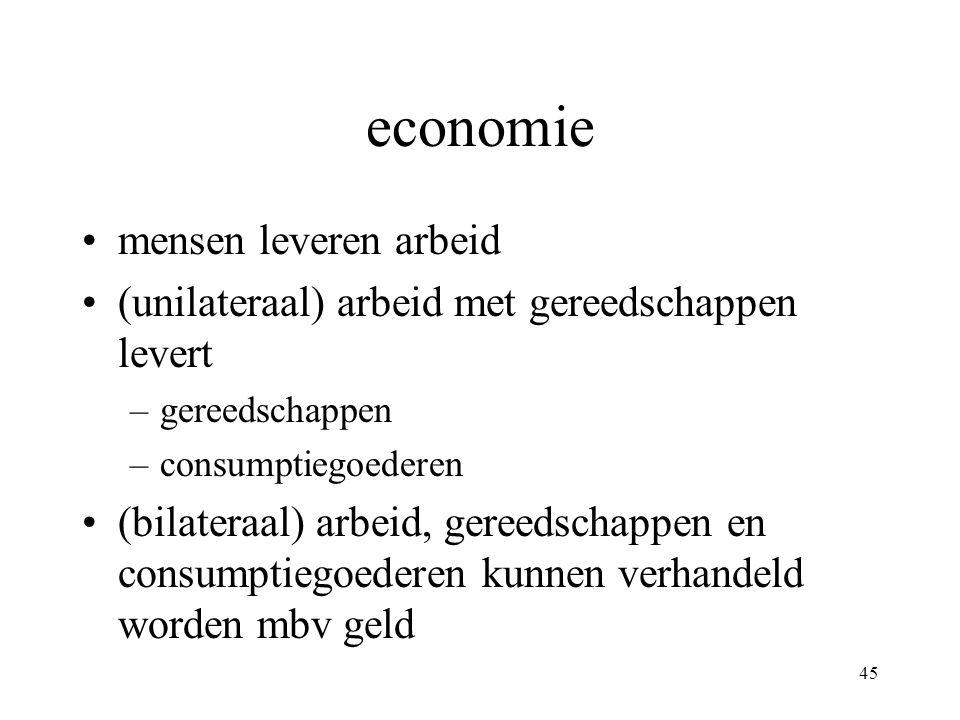 45 economie •mensen leveren arbeid •(unilateraal) arbeid met gereedschappen levert –gereedschappen –consumptiegoederen •(bilateraal) arbeid, gereedschappen en consumptiegoederen kunnen verhandeld worden mbv geld