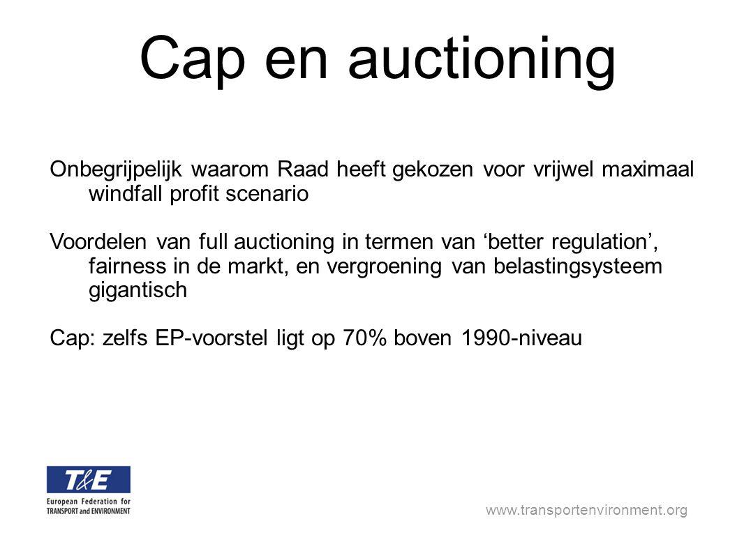 www.transportenvironment.org Cap en auctioning Onbegrijpelijk waarom Raad heeft gekozen voor vrijwel maximaal windfall profit scenario Voordelen van full auctioning in termen van 'better regulation', fairness in de markt, en vergroening van belastingsysteem gigantisch Cap: zelfs EP-voorstel ligt op 70% boven 1990-niveau