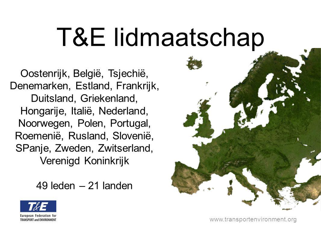 www.transportenvironment.org Oostenrijk, België, Tsjechië, Denemarken, Estland, Frankrijk, Duitsland, Griekenland, Hongarije, Italië, Nederland, Noorwegen, Polen, Portugal, Roemenië, Rusland, Slovenië, SPanje, Zweden, Zwitserland, Verenigd Koninkrijk 49 leden – 21 landen T&E lidmaatschap
