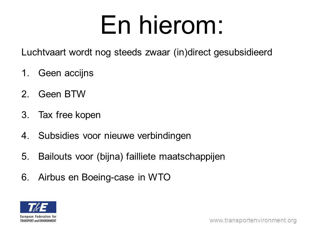 www.transportenvironment.org En hierom: Luchtvaart wordt nog steeds zwaar (in)direct gesubsidieerd 1.Geen accijns 2.Geen BTW 3.Tax free kopen 4.Subsidies voor nieuwe verbindingen 5.Bailouts voor (bijna) failliete maatschappijen 6.Airbus en Boeing-case in WTO