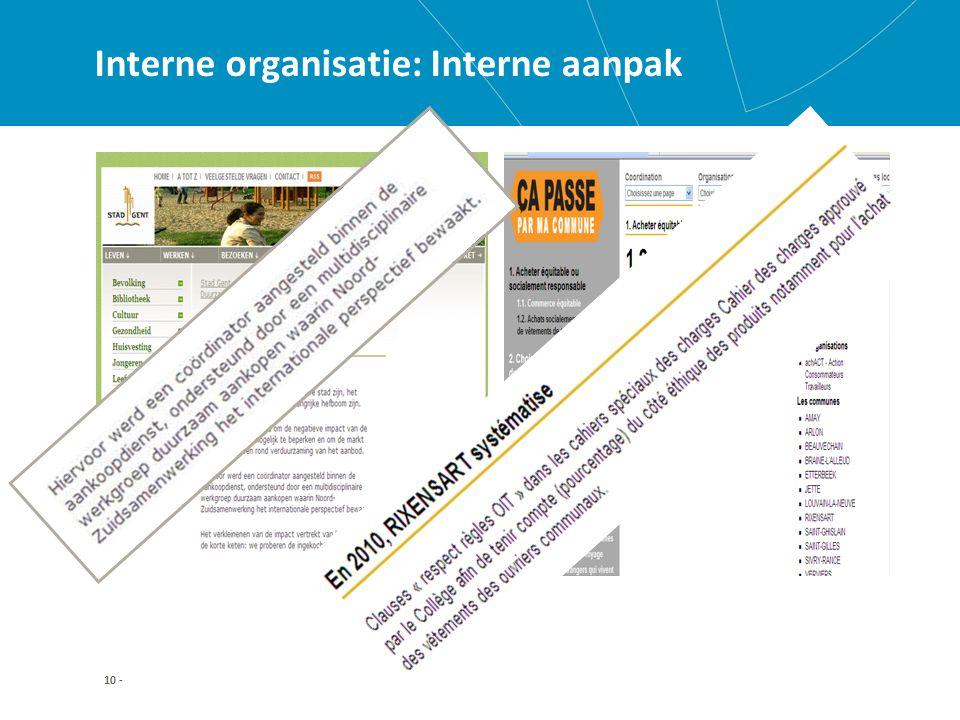 10 - Interne organisatie: Interne aanpak