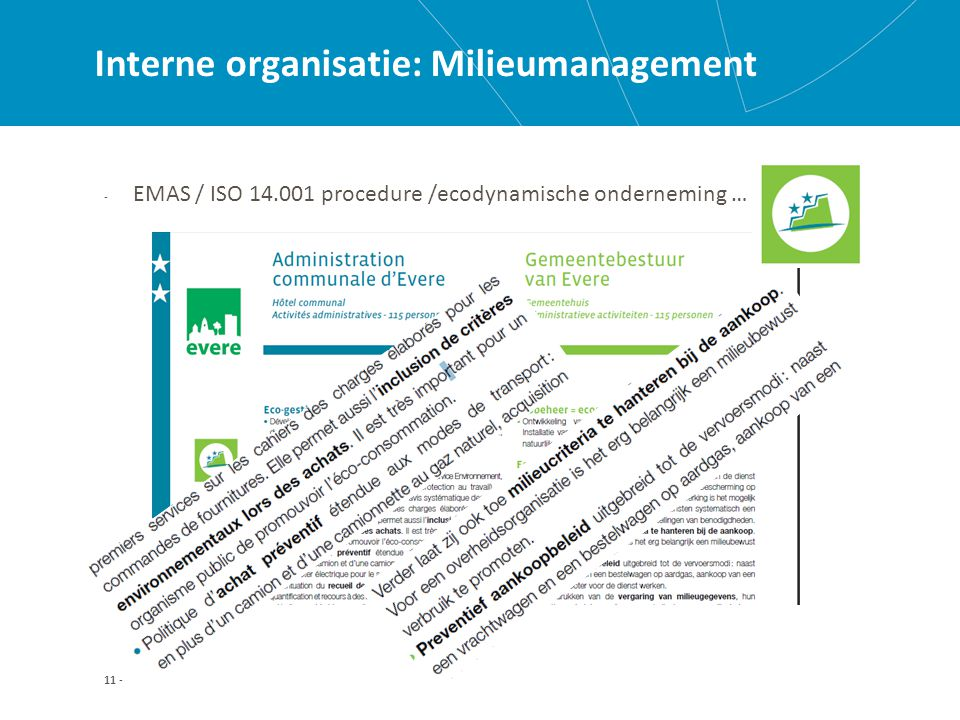 11 - Interne organisatie: Milieumanagement - EMAS / ISO 14.001 procedure /ecodynamische onderneming …