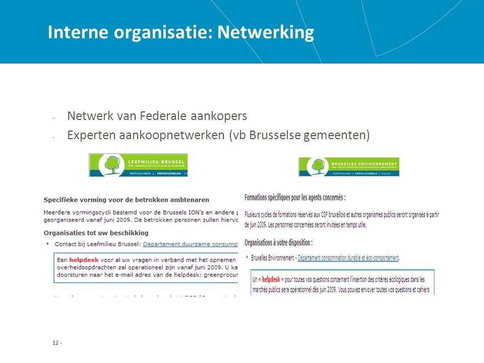 12 - Interne organisatie: Netwerking - Netwerk van Federale aankopers - Experten aankoopnetwerken (vb Brusselse gemeenten)