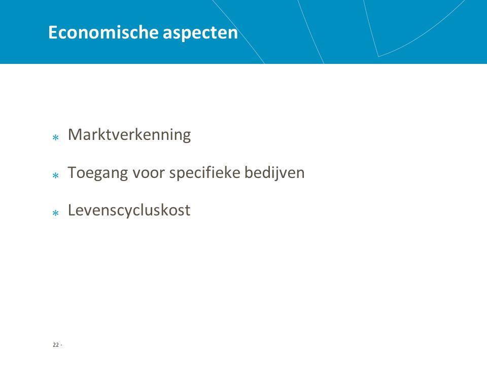 22 - Economische aspecten Marktverkenning Toegang voor specifieke bedijven Levenscycluskost