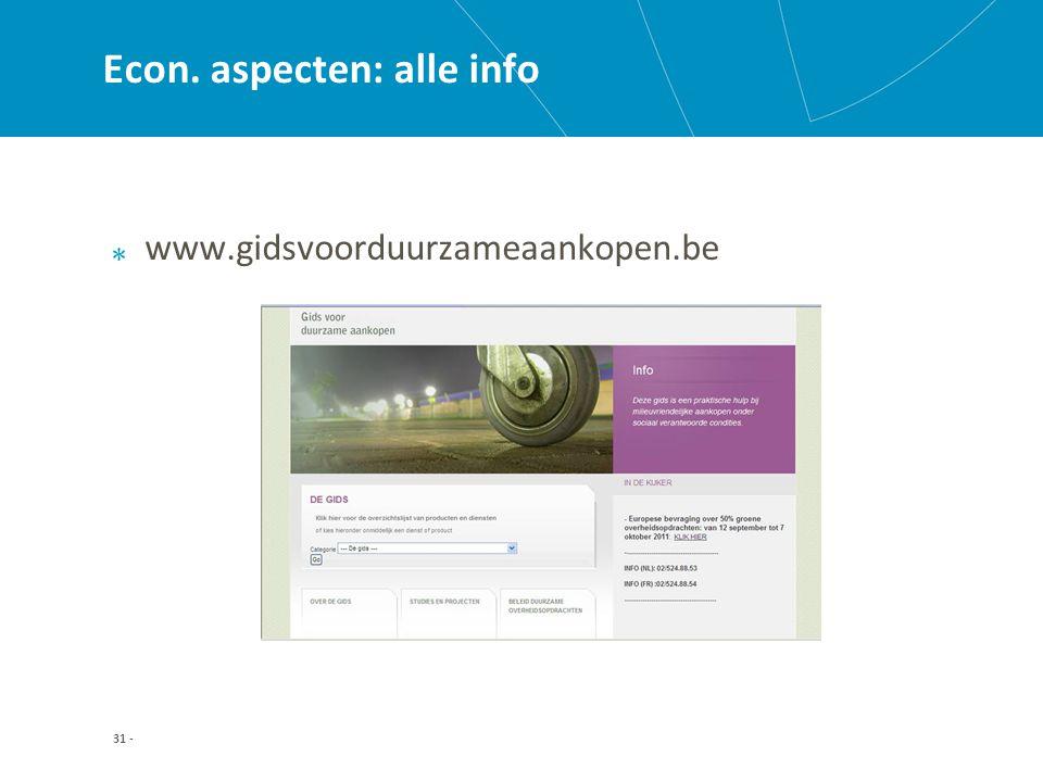 31 - Econ. aspecten: alle info www.gidsvoorduurzameaankopen.be