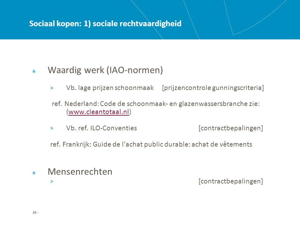 34 - Sociaal kopen: 1) sociale rechtvaardigheid Waardig werk (IAO-normen) > Vb.