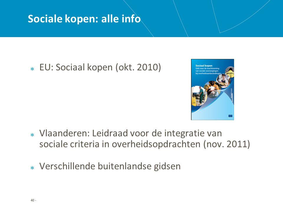 40 - Sociale kopen: alle info EU: Sociaal kopen (okt.