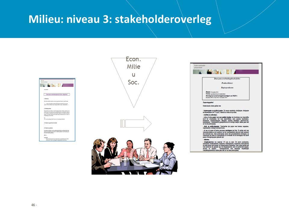 46 - Milieu: niveau 3: stakeholderoverleg Econ. Milie u Soc.
