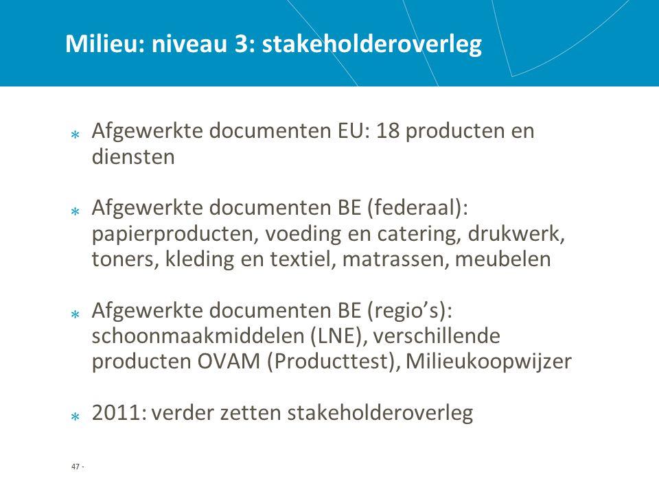 47 - Milieu: niveau 3: stakeholderoverleg Afgewerkte documenten EU: 18 producten en diensten Afgewerkte documenten BE (federaal): papierproducten, voeding en catering, drukwerk, toners, kleding en textiel, matrassen, meubelen Afgewerkte documenten BE (regio's): schoonmaakmiddelen (LNE), verschillende producten OVAM (Producttest), Milieukoopwijzer 2011: verder zetten stakeholderoverleg