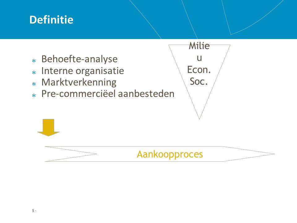 5 - Definitie Behoefte-analyse Interne organisatie Marktverkenning Pre-commerciëel aanbesteden Aankoopproces Milie u Econ.