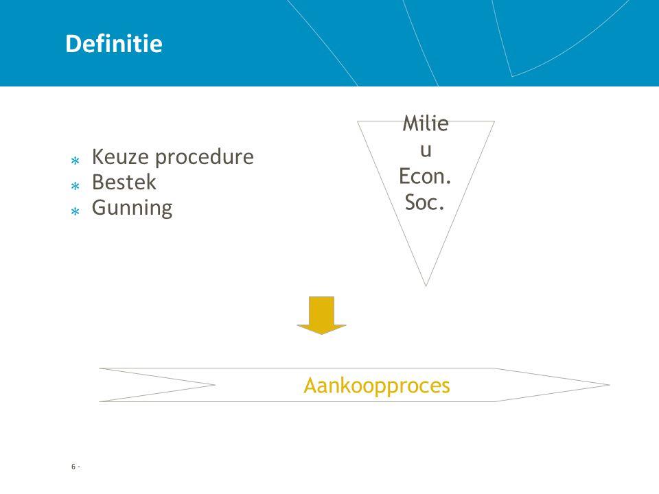 6 - Definitie Keuze procedure Bestek Gunning Aankoopproces Milie u Econ. Soc.